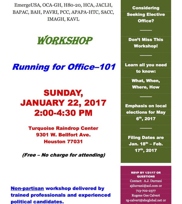 Considering Seeking Elective Office? Free Workshop – Running for Office-101